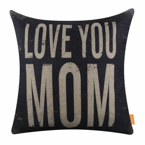Faded Black Love You Mom Pillow Cover