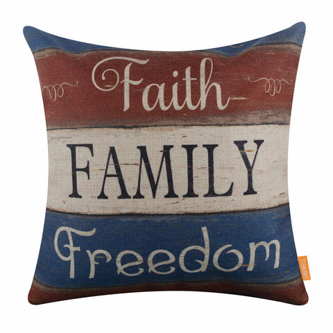 Faith Family Freedom Independence Day Cushion Cover