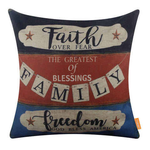 Image of Faith Family Freedom Pillow Cover for 4th of July