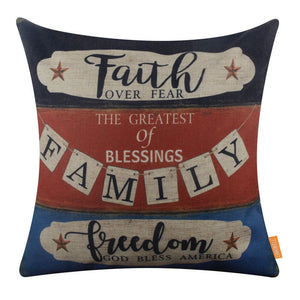 Faith Family Freedom Pillow Cover for 4th of July