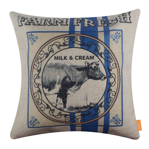 Image of Farm Cow Blue Pillow Cover