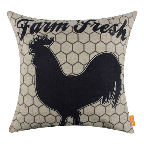 Farm Fresh Rooster Black and White Throw Pillow Cover
