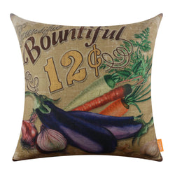 Farm Life Vegetable Decorative Throw Pillow Cover