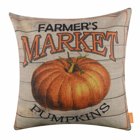 Farmer's Market Pumpkins Happy Fall Harvest Pillow Cover
