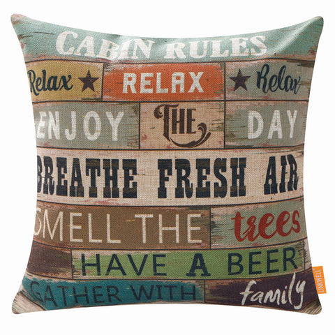 Image of Farmhouse Cabin Rules Pillow Cover 18x18 inches