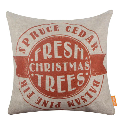Farmhouse Red Fresh Christmas Tree Pillow Cover
