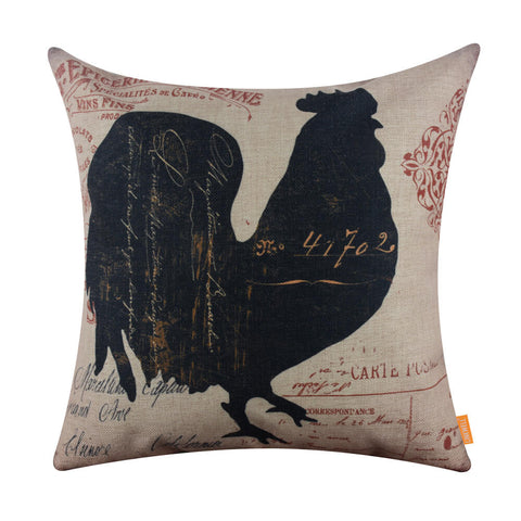 Image of Farmhouse Rooster Throw Pillow Cover 18x18