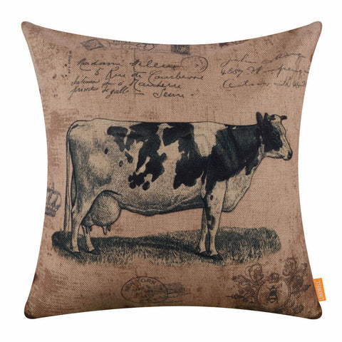 Image of Farmhouse Style Cow Pillow Cover