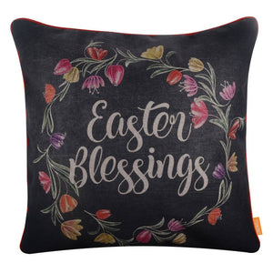 Fashion Easter Blessings Pillow Cover with Chalk Words