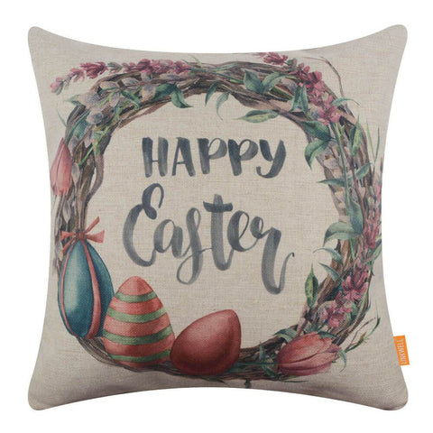 Image of Fashion Happy Easter Egg Wreath Pillow Cover