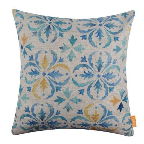 Image of Fashion Yellow and Blue Tile Design Cushion Cover 18x18