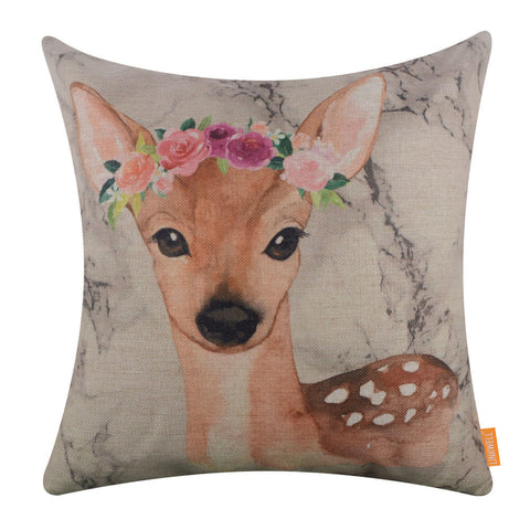 Image of Floral Deer Cushion Cover