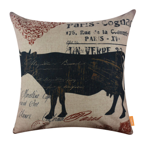 French County Black Cow Cushion Cover for Sofa