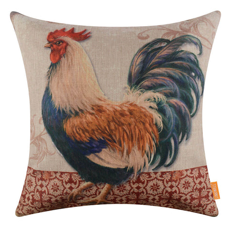 French County Rooster Bed Cushion Cover