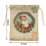 Santa Claus Wreath Christmas Tree Gift Bag with Drawstring Set of 2