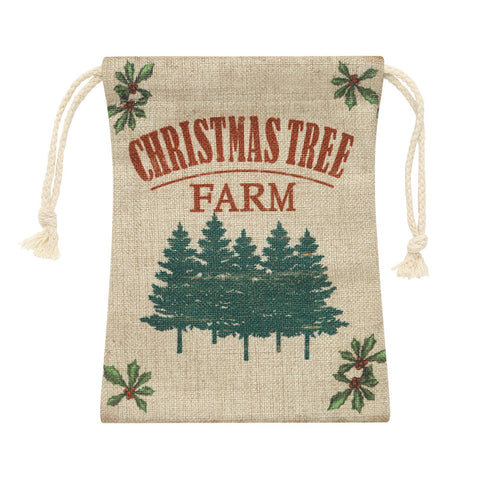 Image of LINKWELL Drawstring Bag with Farmhouse Christmas Tree Design
