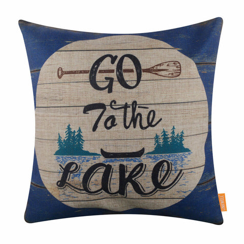 Go to the Lake Blue Pillow Cover