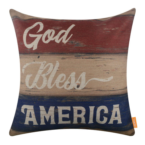 God Bless America Cushion Cover for 4th of July Decoration