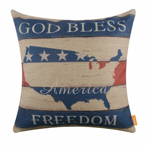 Image of God Bless America Independence Day Cushion Cover