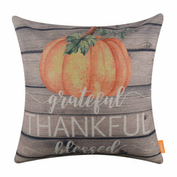 Grateful Thankful Blessed Pumpkin Pillow Cover for Thanksgiving Day