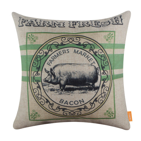 Image of Green Farm Pig Bacon Pillow Cover