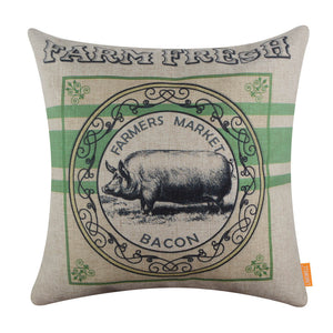 Green Farm Pig Bacon Pillow Cover