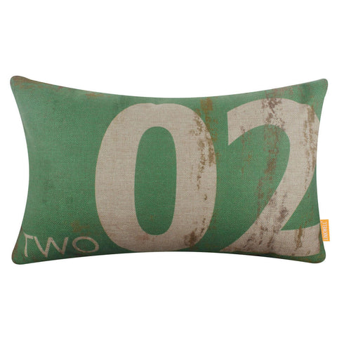 Green Number 2 Throw Pillow Cover