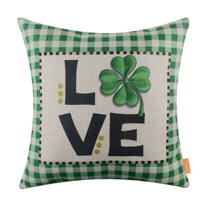 Green Buffalo Check Gingham Love Clover Pillow Cover for Saint Patrick
