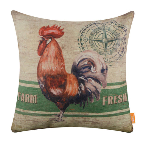 Green Farmhouse Rooster Cushion Cover
