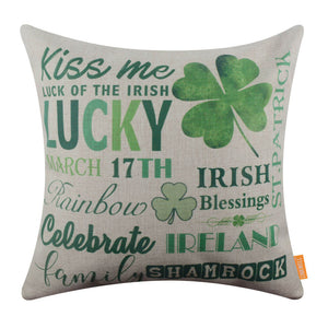Green Irish-themed Pillow Cover