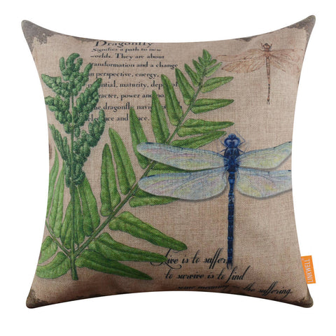 Green Leaf Big Dragonfly Pillow Cover