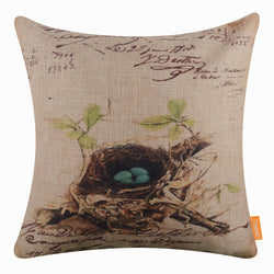 Green Leaves Nest Pillow Cover