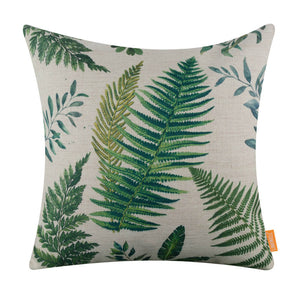 Green Palm Leaf Tropical Pillow Cover