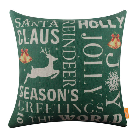 Green Santa Claus Words Pillow Cover