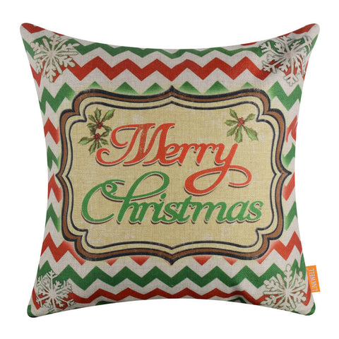Green and Red Chevron Merry Christmas Throw Pillow Cover