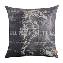 Grey Background Seahorse Pillow Cover