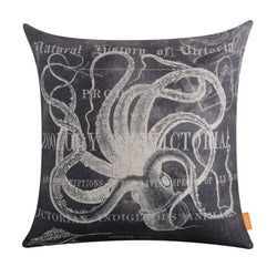 Grey Octopus Coastal Pillow Cover
