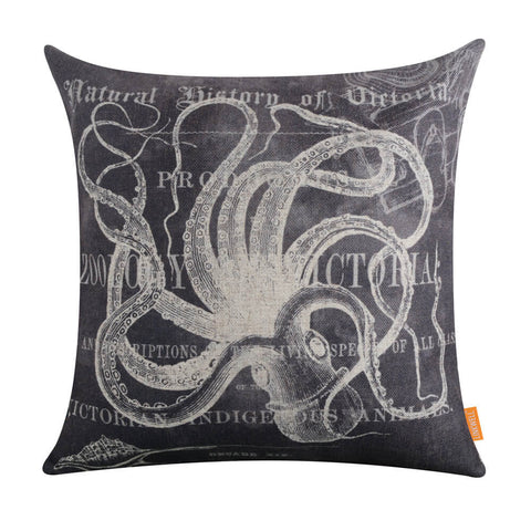 Image of Grey Octopus Coastal Pillow Cover