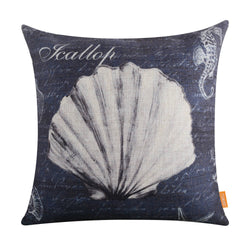 Grey Seahorse and Shell Pillow Cover