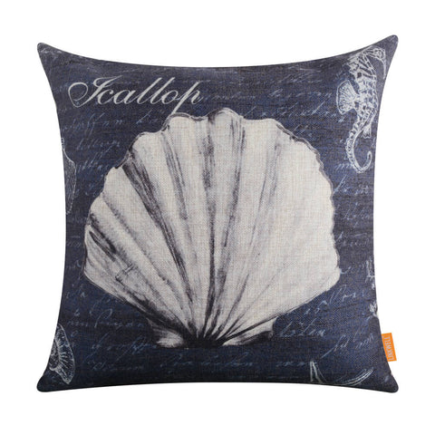 Image of Grey Seahorse and Shell Pillow Cover
