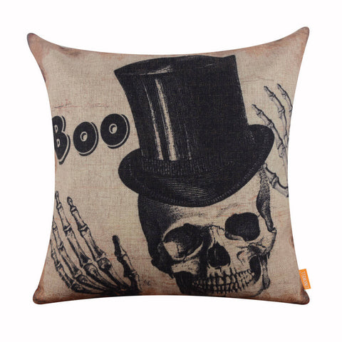 Image of Halloween Boo Skull Pillow Cover
