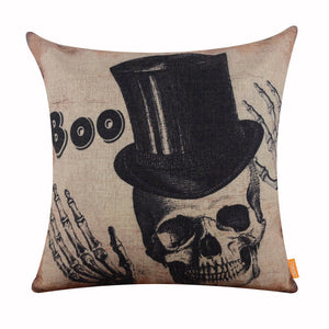 Halloween Boo Skull Pillow Cover