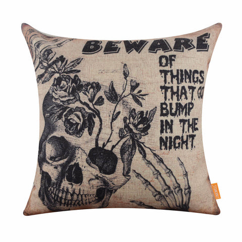 Image of Halloween Scared Skull Head Pillow Cover