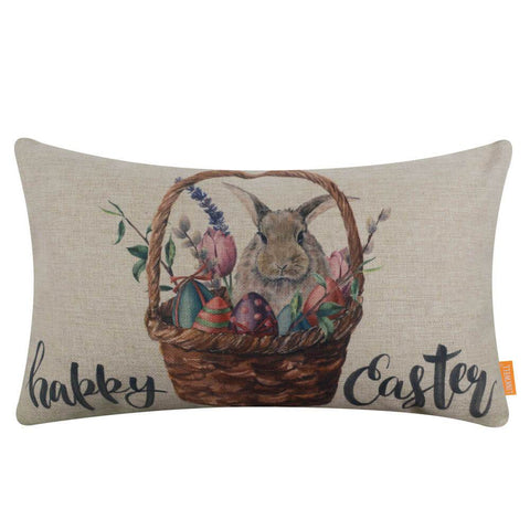 Image of Happy Easter Bunny Oblong Pillow Cover