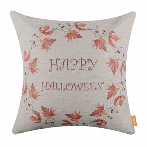 Happy Halloween Autumn Leaf Pillow Cover