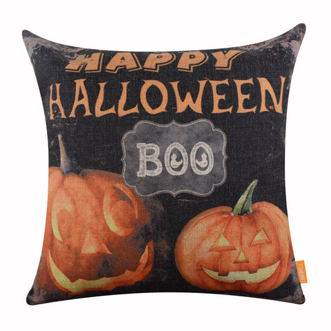 Image of Happy Halloween Festive BOO Black Cushion Cover