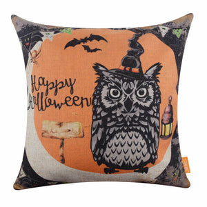 Happy Halloween Gift Black Owl Pillow Cover