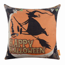 Happy Halloween Witch and Pumpkin Orange Cushion Cover