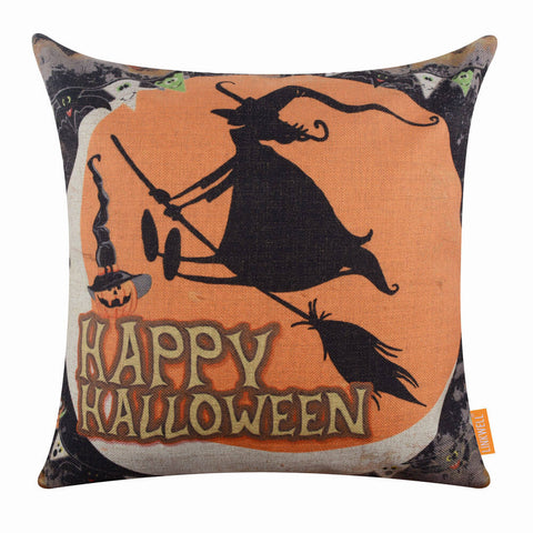 Image of Happy Halloween Witch and Pumpkin Orange Cushion Cover
