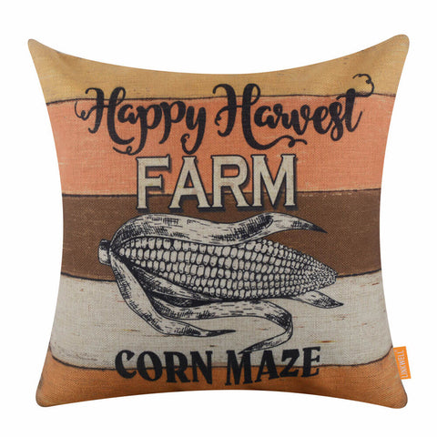 Happy Harvest Farm Corn Maze Throw Pillow Cover